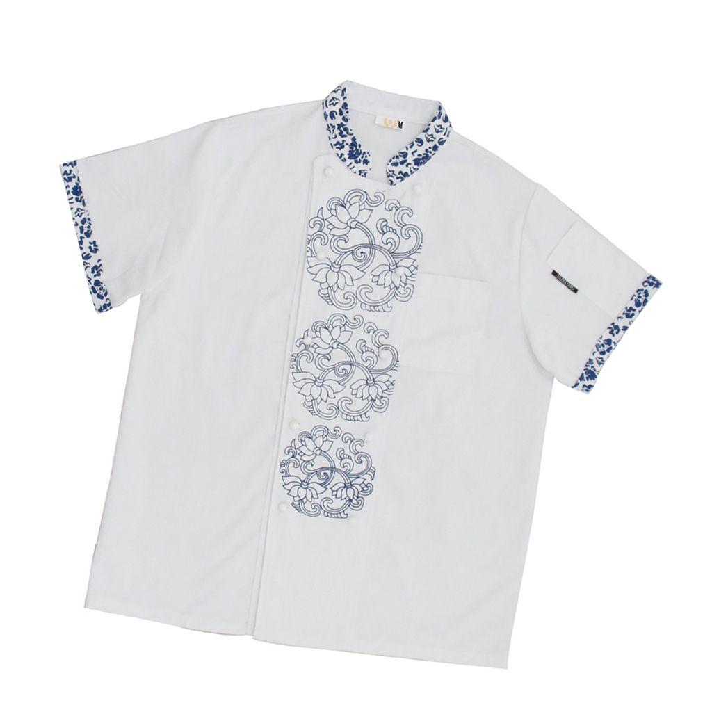 Unisexe Restaurant chinois antique à manches courtes chef-chemise, été de travail Porter