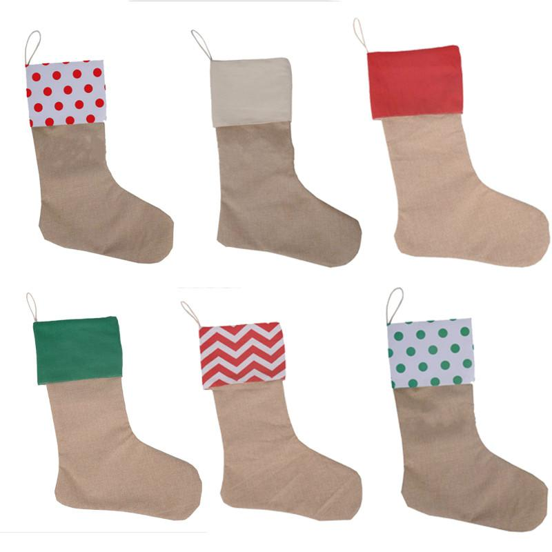 45 * 30 cm Yüksek Kalite 2020 Tuval Noel Çorap Hediye Çanta Tuval Noel Noel Çorap Büyük Boy Düz Çuval Dekoratif Çorap Çanta
