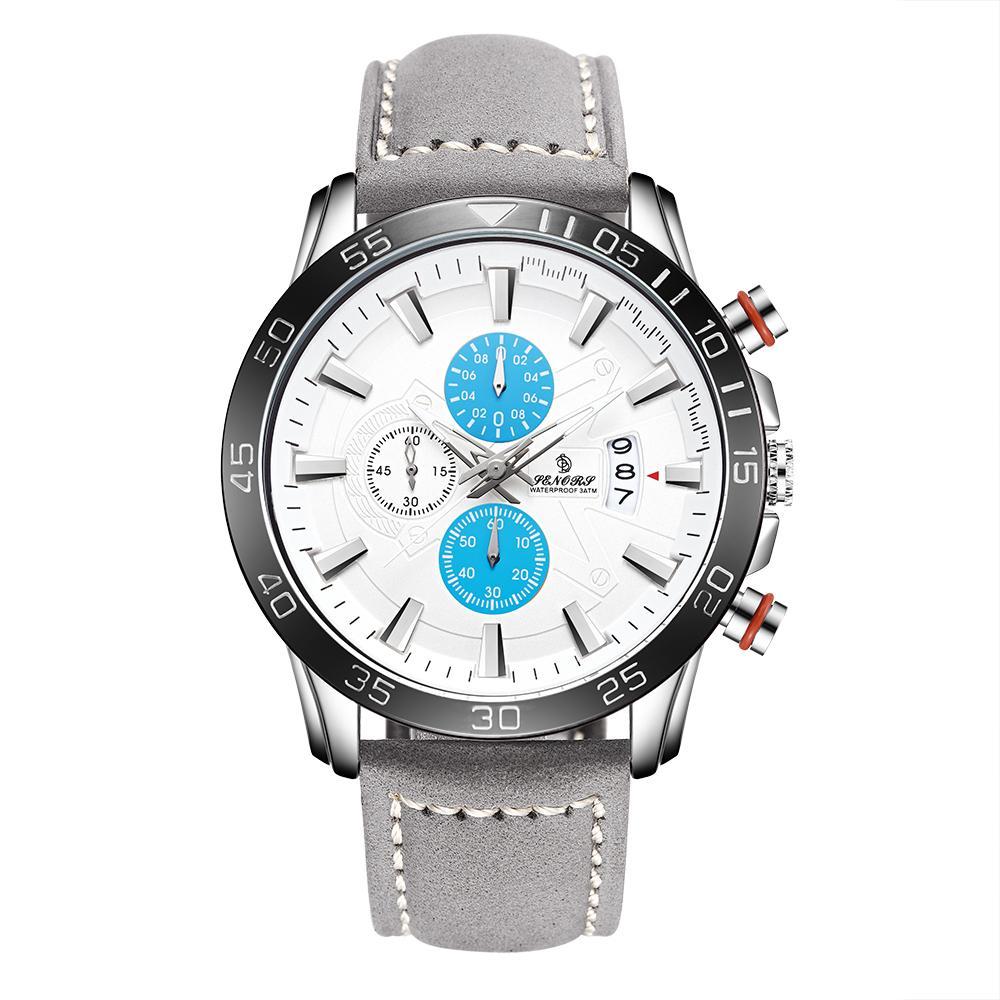 Mayforest multifunzione Quadrante Blu Timing Orologi cinghia di modo degli uomini al quarzo cronografo sportivo uomo Orologi Data di vera pelle di