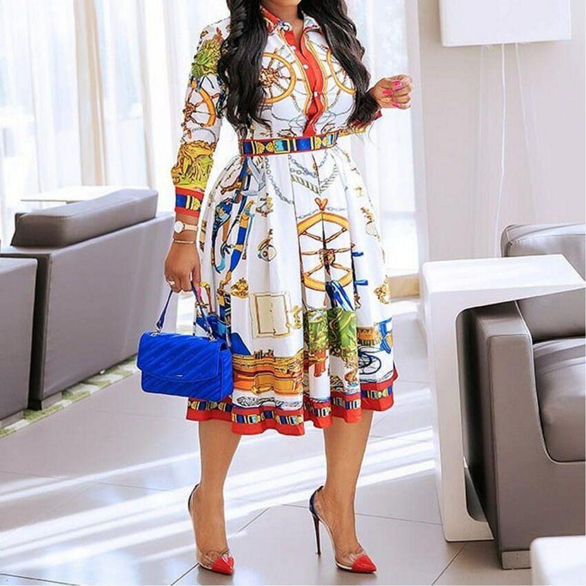 2020 Осень Осень отворотом Mid-теленок высокой талией платье большой плюс размер GeometricPrinted Элегантный офис дамы TunicPleated Midi платье