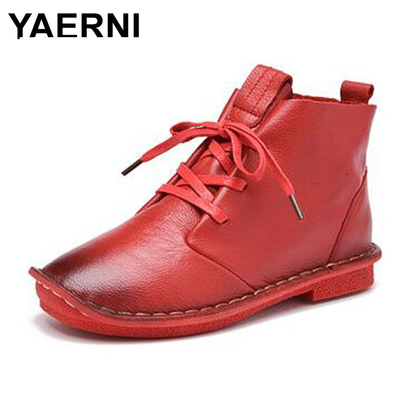 YAERNI Fashion new lace women shoes Soft and comfortable Women's autumn shoes Casual Genuine Leather Ankle boots botas mujerE291