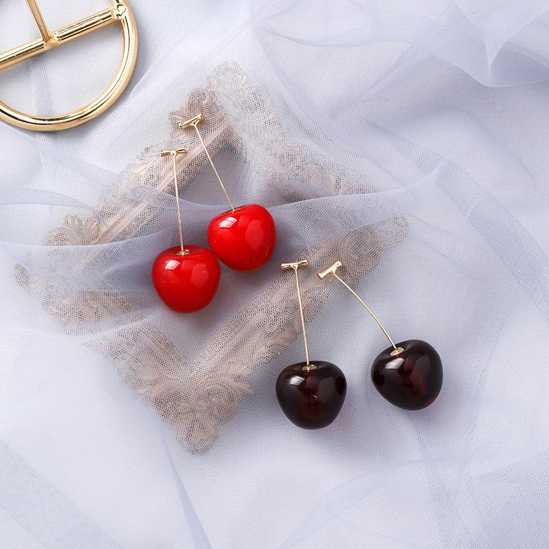 Ювелирные изделия женщин Модные Сладкие фрукты Вишневый падение серьги для женщин Мода Корея Горячие мотаться серьги оптом