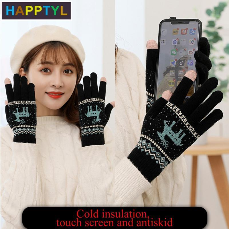 HAPPTYL 1pair Gants d'hiver Gants en tricot mitaine écran tactile laine chaud magique pour les femmes