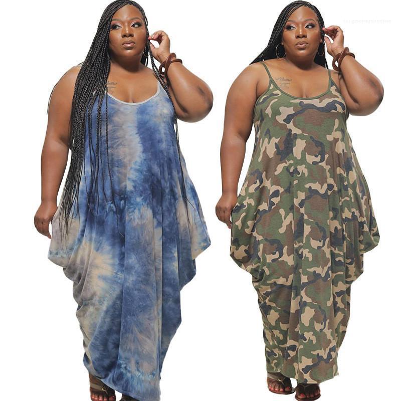 Spaghetti Strap Dye vestito lungo femminile di modo di estate dei vestiti progettista delle donne più il vestito sexy Tie