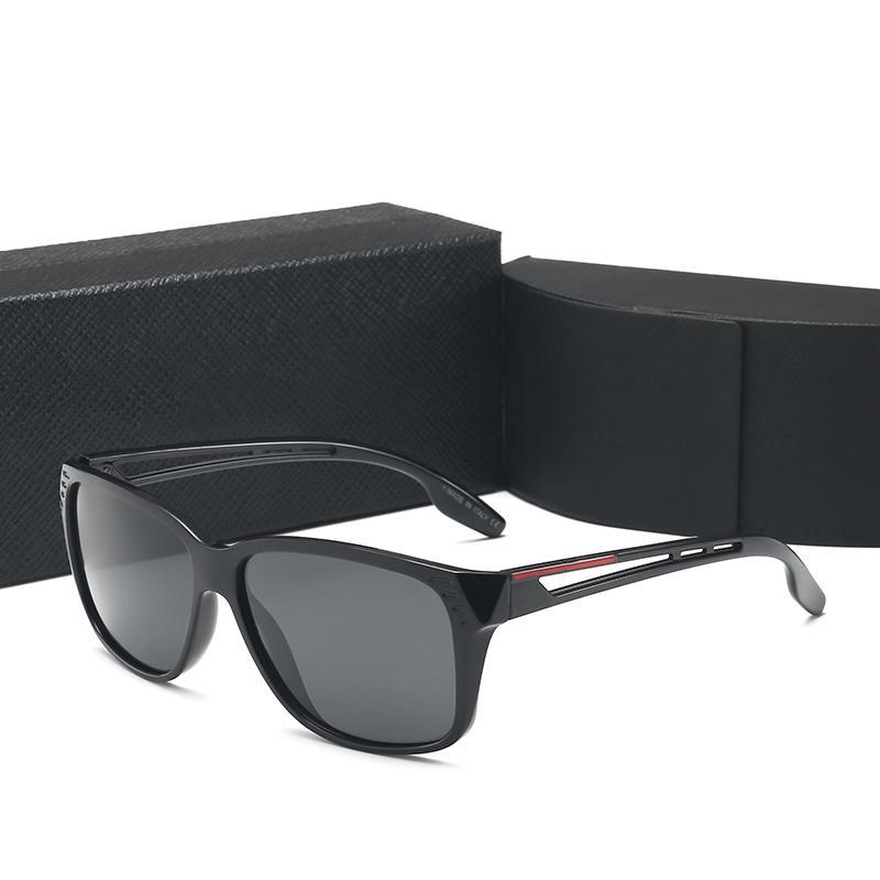비즈니스 남자의 선글라스 UV400 편광 렌즈 사각형 프레임 상자