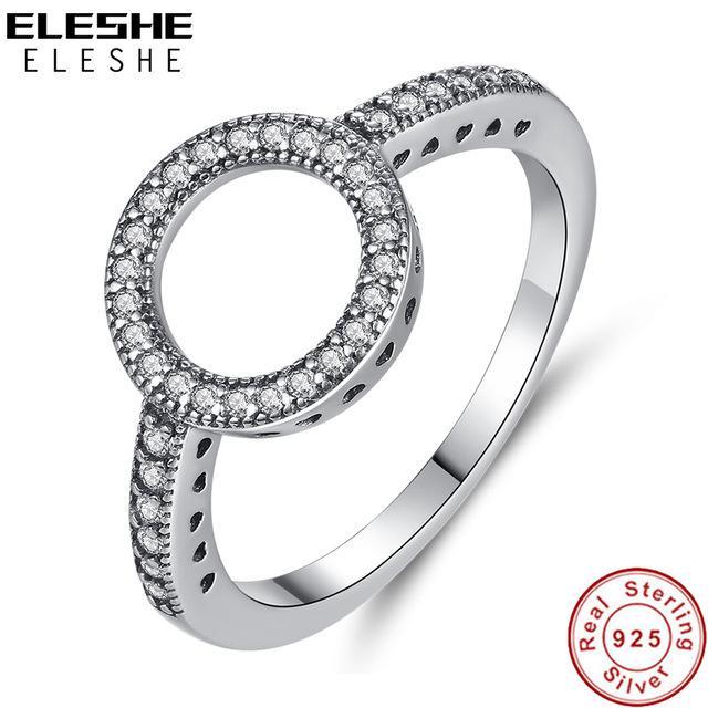 Gioielli ine Anelli ELESHE Vintage 925 anelli dell'argento sterlina per sempre Cubic Zirconia CZ Finger cerchio rotondo Ring per signore delle donne Wedding Je ...