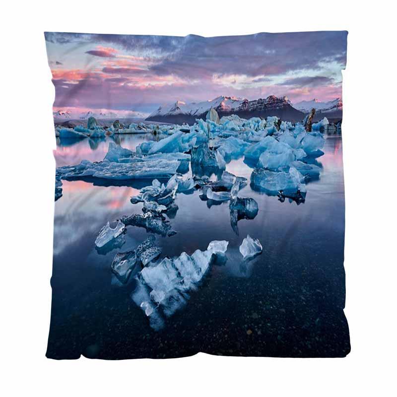 Paysage chaud Flanelle Couvertures Couvertures souples solides Islande Jokulsarlon Lagoon Belle douce confortable Couverture multifonction