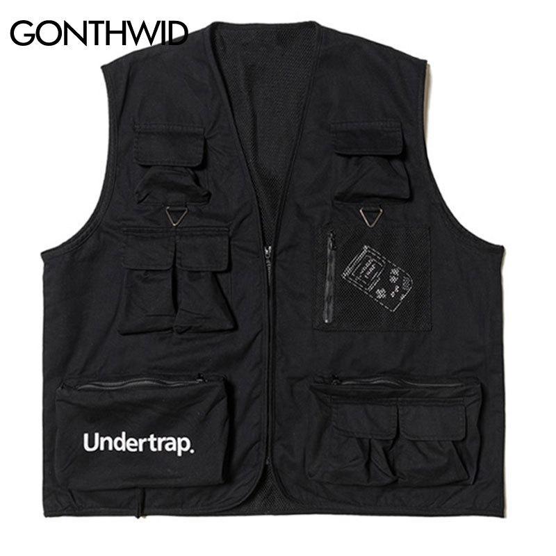 Gonthwid utilitário multi zíper bolsos sem mangas jaquetas ferramenta ferramenta colete tático colete casual viagem casual casaco jaqueta lj200916