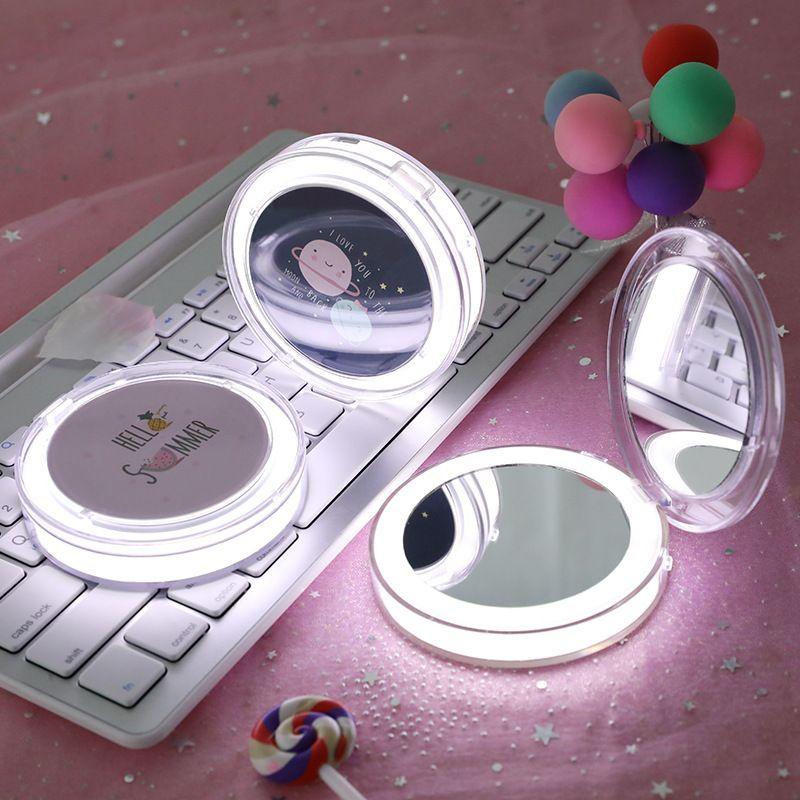 Maquiagem Espelho com luz LED portátil Compact Cosmetic recarregável iluminado dobrável redonda pequena bolso Mão Espelhos do navio da gota