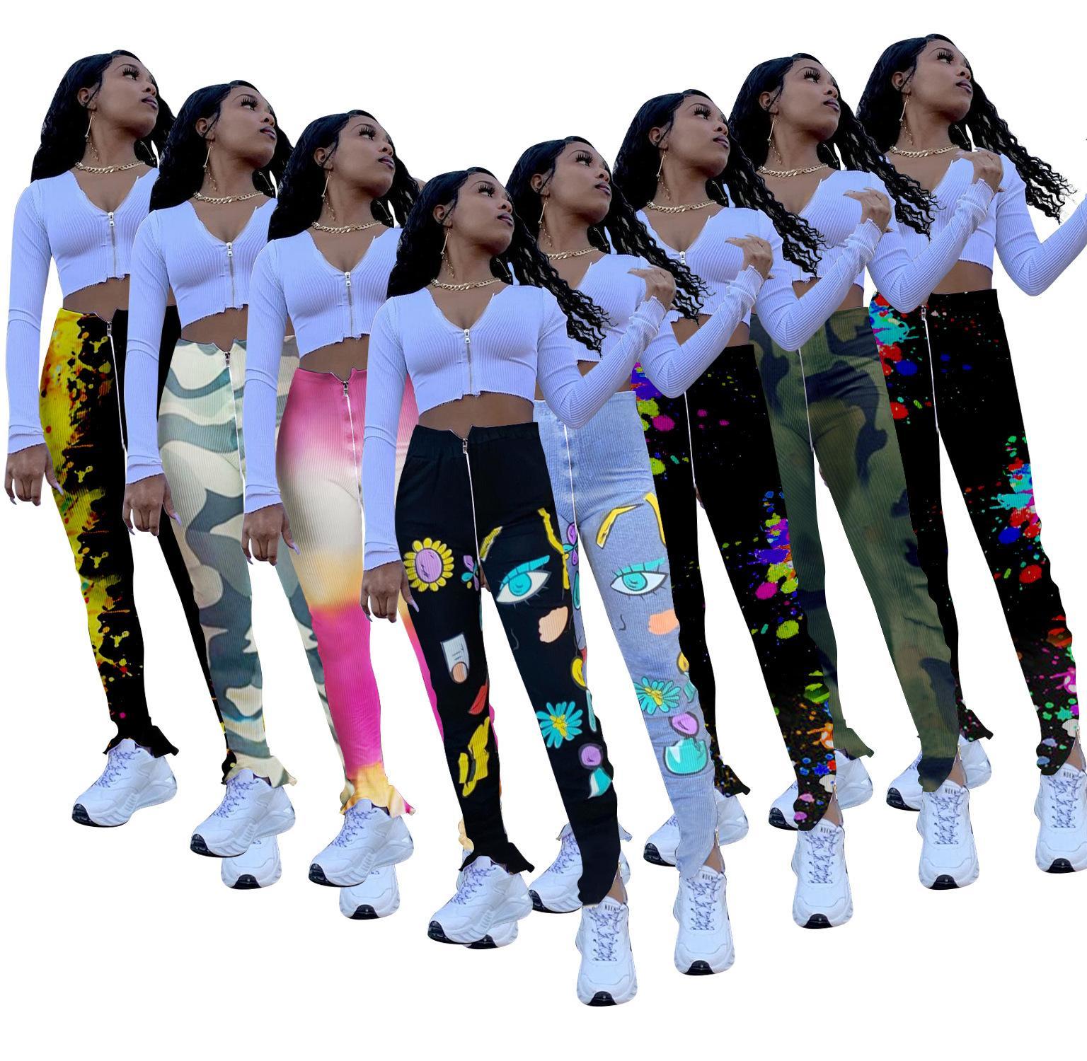 posición de las mujeres polainas de la manera de imprimir hoyo apretado elástico de la cintura de la cremallera de alta divide micro pantalones de trompeta de las nuevas señoras Pantalones Pantalones Venta caliente