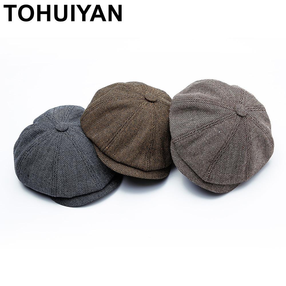 TOHUIYAN Retro Newsboy Cap For Men lã octogonal Hat Moda Baker Boy Chapéus Masculino Boinas Gatsby Caps Homem Chapeau Quente Chapéus T200911