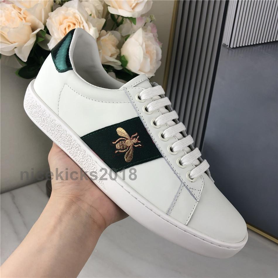 Nouveau Mode Hommes Femmes Scarpe Chaussures Casual Chaussures en cuir Italie Chaussures de sport de qualité supérieure vert rouge Abeille brodée tigrées Des Chaussures
