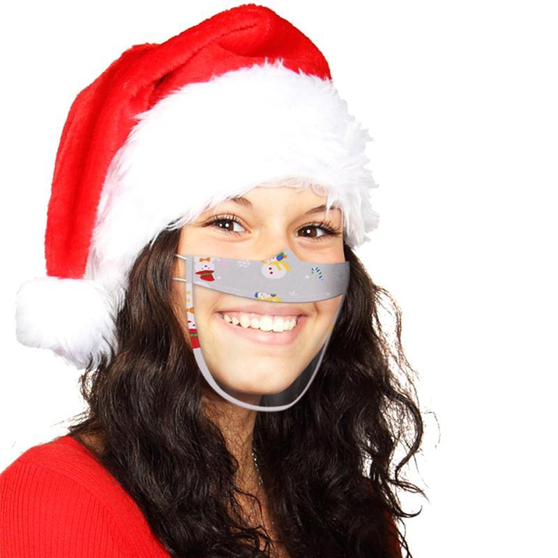 Weihnachten Lippen Sprache Transparent Masken Erwachsene Weihnachten Drucken Klare Gesichtsmaske mit Visible Lip Taubstummen Impaired Deaf Earloop Maske E91601