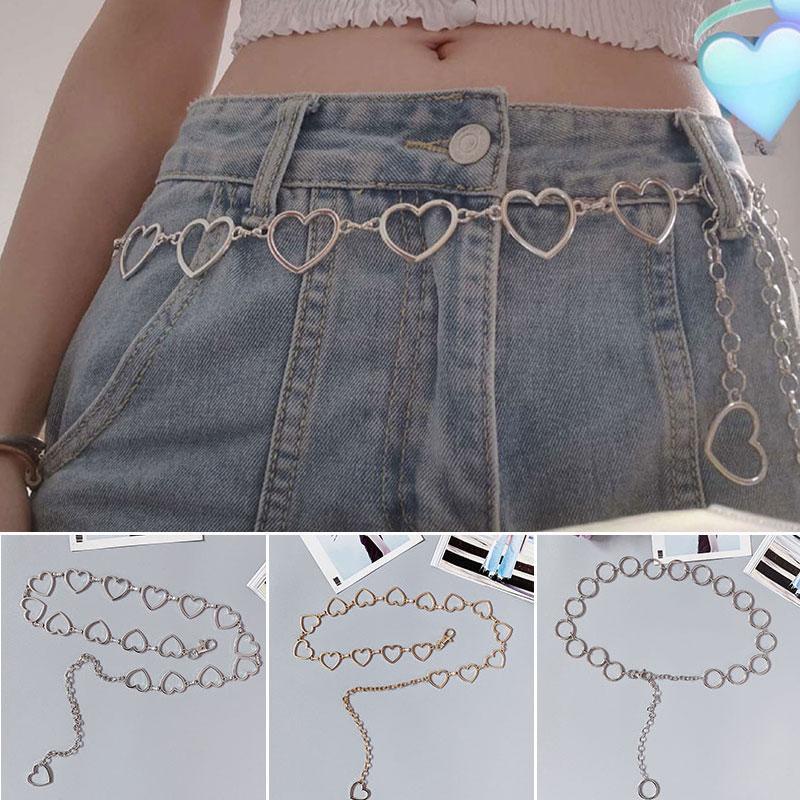 Versátil clásico Cadena de la cintura de los pantalones del amor del corazón hueco de la cadena de moda Faja multa del metal Mujeres geométrica informal versátil pretina
