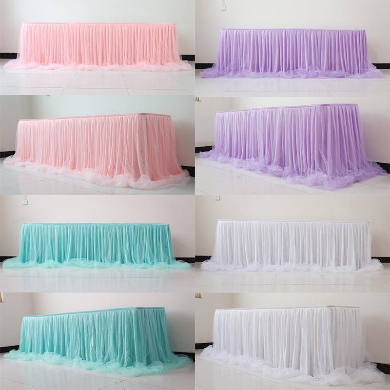 Organza Wedding Table gonna per Baby Shower partito di compleanno Tovaglia di Tulle decorativo Tutu Tabella Gonna