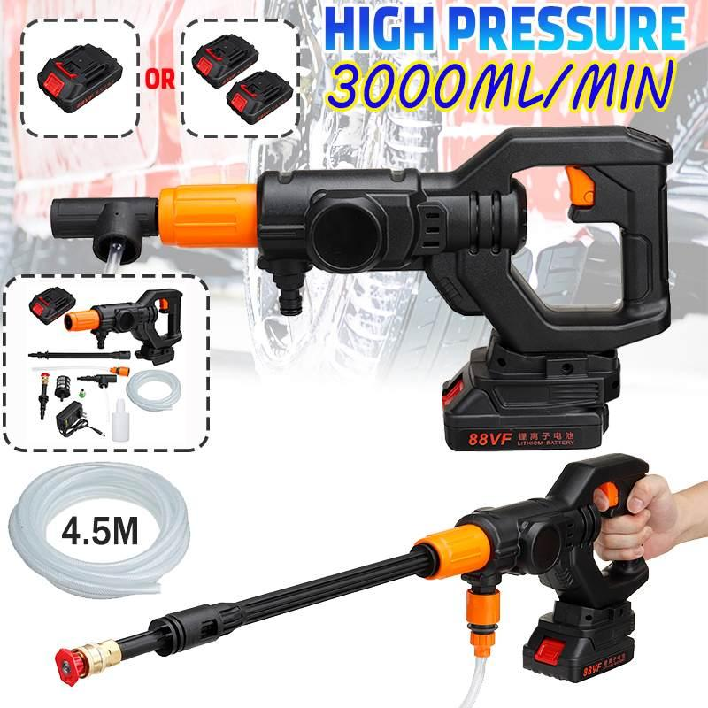 Auto Portable High Pressure Washer Machine Power Tool Rechargeable Cordless Water Guns With Nozzle Hose Water Pump