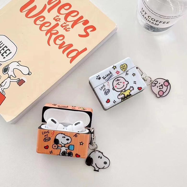 Cartoon Snoopy Square Storage Bag Cover for TWS Apple Airpods 2 Pro Wireless Headset Stripe Print Pouch Shell with Comics Dog Pendant