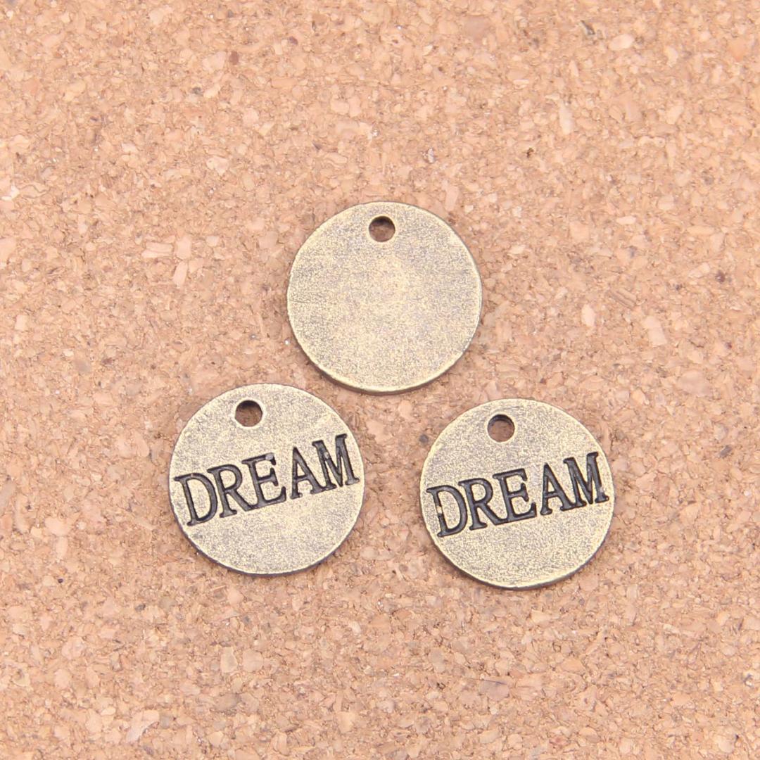 14PCS Encantos placas sonhar 16 milímetros Antique Pingentes, Bronze Vintage Jóias, DIY para colar pulseira