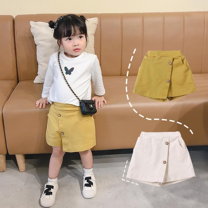 New INS Summer Autumn Kids shorts Cotton New Arrival Girls Shorts Autumn Cotton Front Buttons Designer Fashion Girls Shorts 2-8 Years