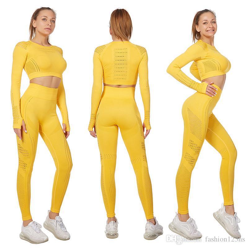 2020 Primavera antumn Vital Yoga deporte de las mujeres Conjunto de gimnasio ropa del entrenamiento de la cosecha de manga larga + superiores de la aptitud de cintura alta energía sin fisuras de las polainas