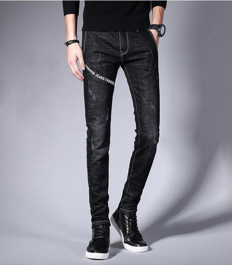 Продажа 2020 осень зима дизайнер роскошного мужские джинсов европейских американская тенденция все-сопрягать тонкие стрейч карандаш брюки брюки случайных подростков