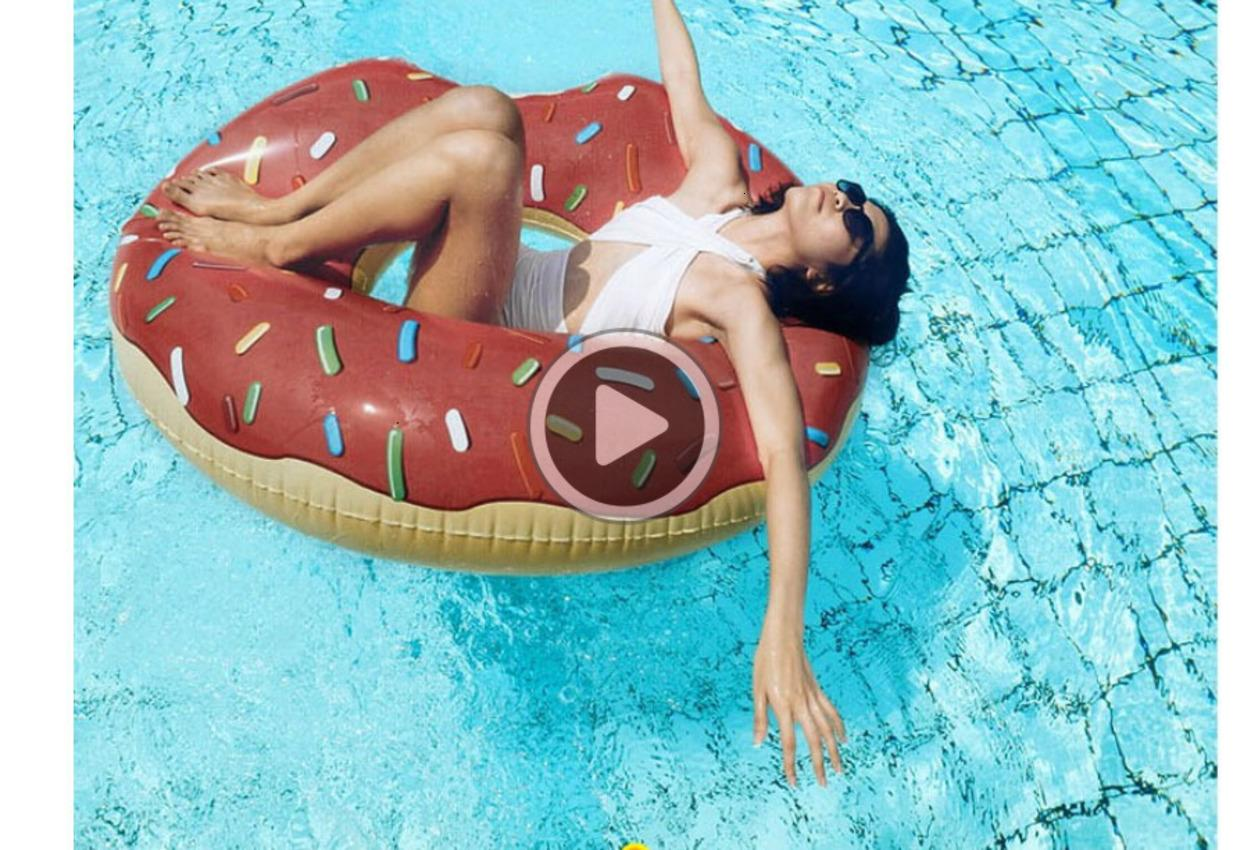 90cm Gigantic Donut Swimming Summer Outdoor Iatable Swim Ring Pool Swimming Floating Boat Row Water Toy Pool Iatable Floats Pool Toys