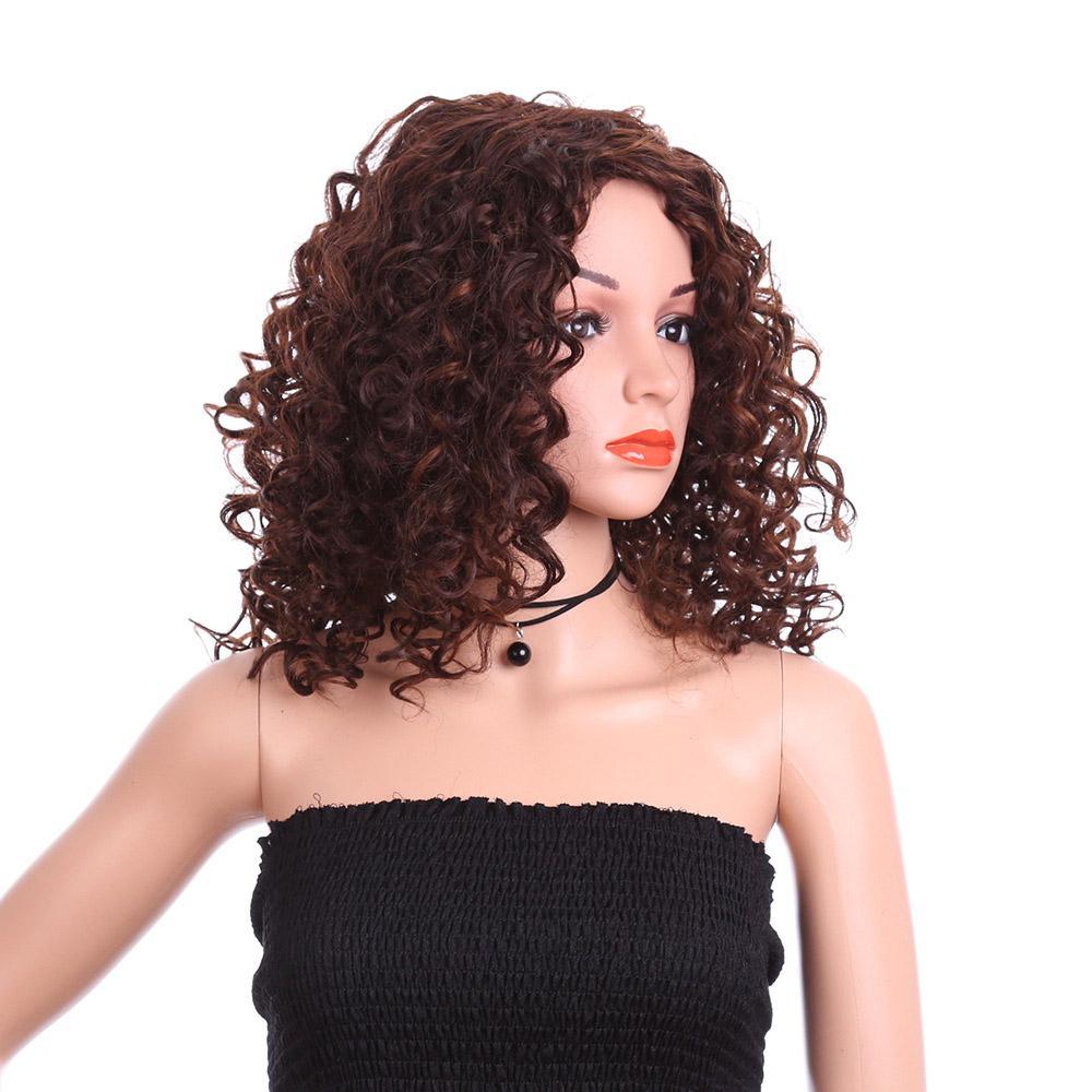 Mode Damen Brown verworrene lockige Haare Perücke synthteic Hochtemperatur Perücke