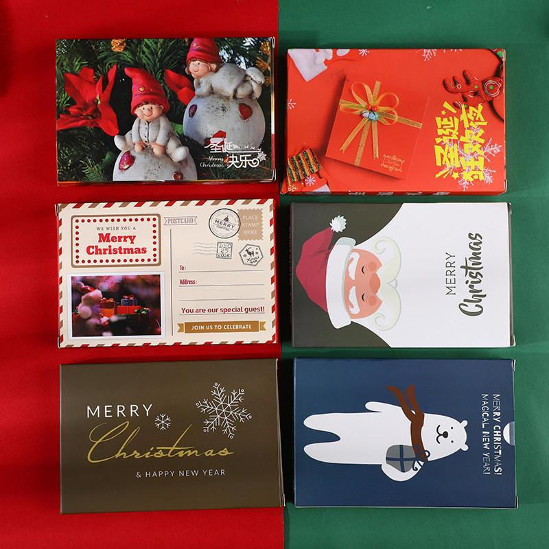 Tarjeta de felicitación de Navidad Conjunto de dibujos animados Santa Claus buenas fiestas Feliz Navidad Gracias tarjeta de felicitación de Navidad de la familia de 30 PC / DHE1073 conjunto