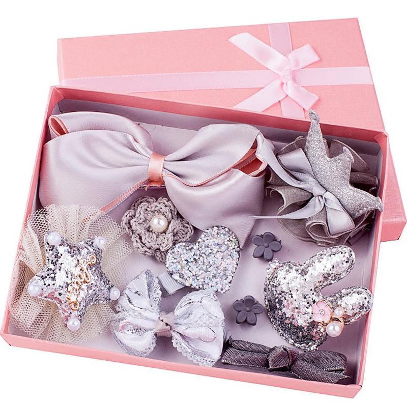 Clipe 10pcs Headwear Set Brinquedos para meninas Crianças Acessórios Fita Laço de Cabelo Grampos menina Princesa Hairdress Toy Moda Beleza