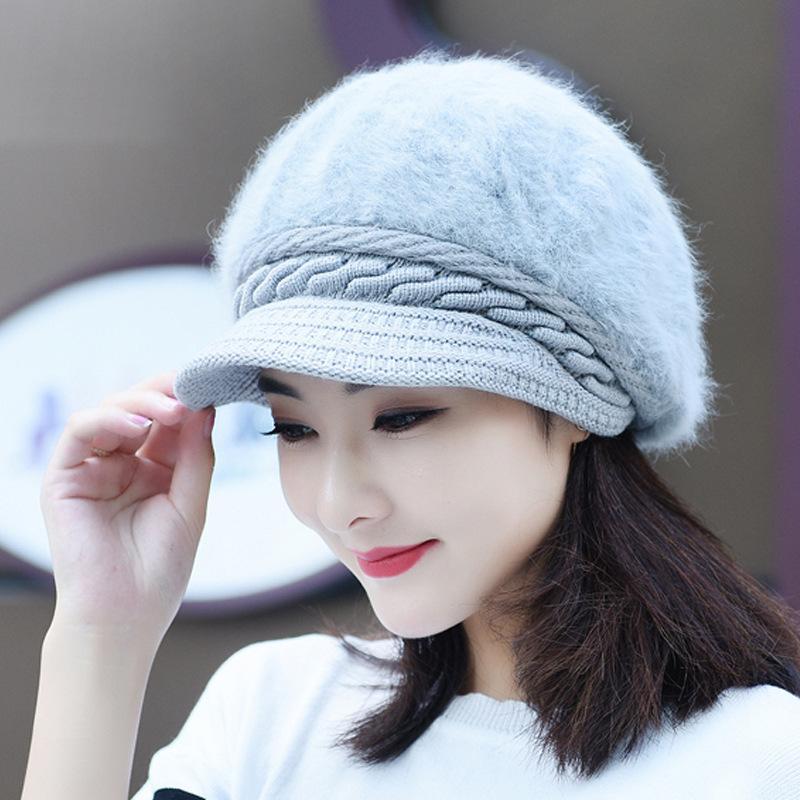 La signora cappello nuovo inverno coreano protezione del cappello di pelliccia del coniglio caldo colore solido maglia berretto di lana peluche mamma fidanzata regalo puro bianco rosso nero elasticità Inoltre ve