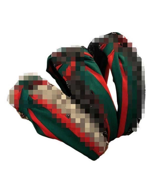 Fascia di modo Ragazze Vintage Knitting ritorto annodata Lettera fascia a righe larghe fasce dei capelli bordo Testa indossare accessori 3 colori