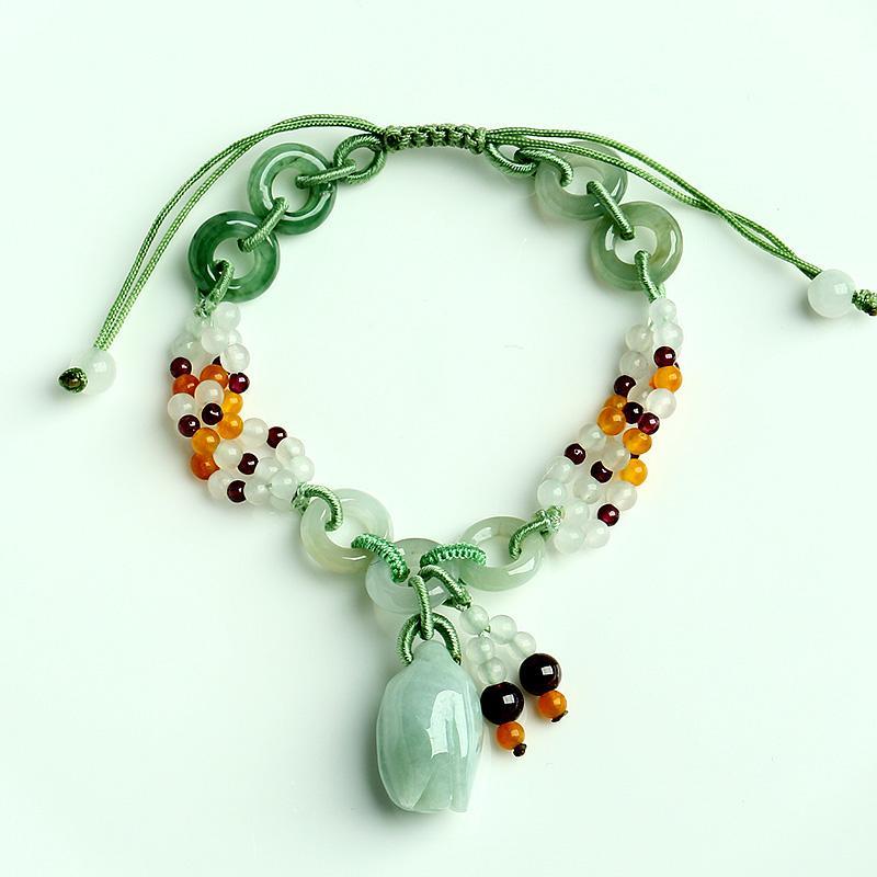 Vert Pierre Bracelet tissé longueur réglable amoureux Bracelet de cadeau