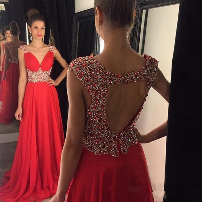 Funkelnder Kristall bördelte eine Linie Abschlussball-Kleid-reizvolle V-Ausschnitt Red Chiffon Abendkleid nach Maß Backless Vestidos De Fiesta