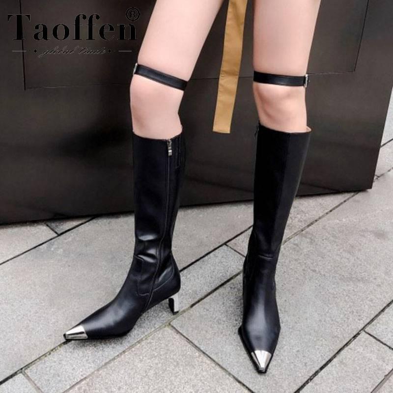 Taoffen Sexy Frauen-echtes Leder kniehohe Stiefel Partei Spitzschuh Mode Thin-Absatz-Schuhe Frauen-Winter-Botas Größe 33-40