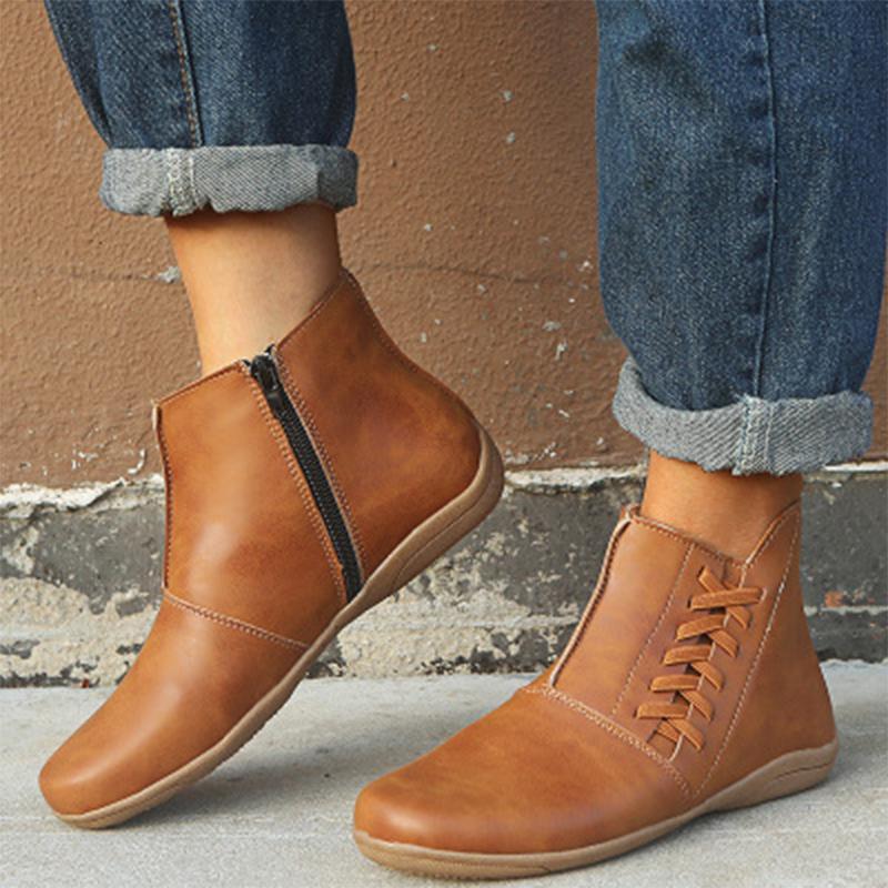 2020 Женщины Ботильоны Кожа PU Женская обувь Обувь Мужская Ретро Zip Короткие сапоги осень вскользь теплые ботинки большого размера