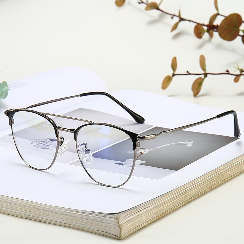 yEwOY metal sobrancelha negócio da moda moldura dupla feixe de óculos simples moldura de miopia anti-azuis Óculos de luz das mulheres dos homens e de alta qualidade