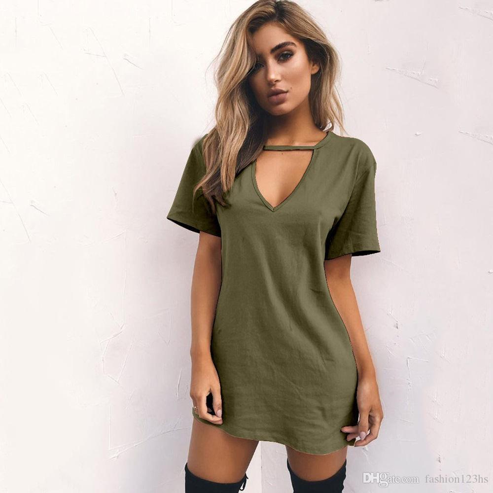 Vestidos para las mujeres ropa de moda casual de manga corta de verano suelta cuello en V camiseta de la túnica vestido elástico suave S M L XL XXL