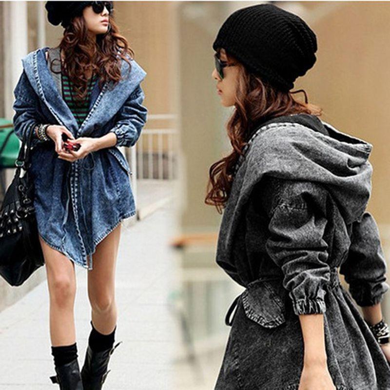 2020 Chaquetas outono mujer Mulheres Jacket Cardigan Windbreaker Lace Up Bandage com capuz Manto Denim jaqueta de inverno casacos de correia denim