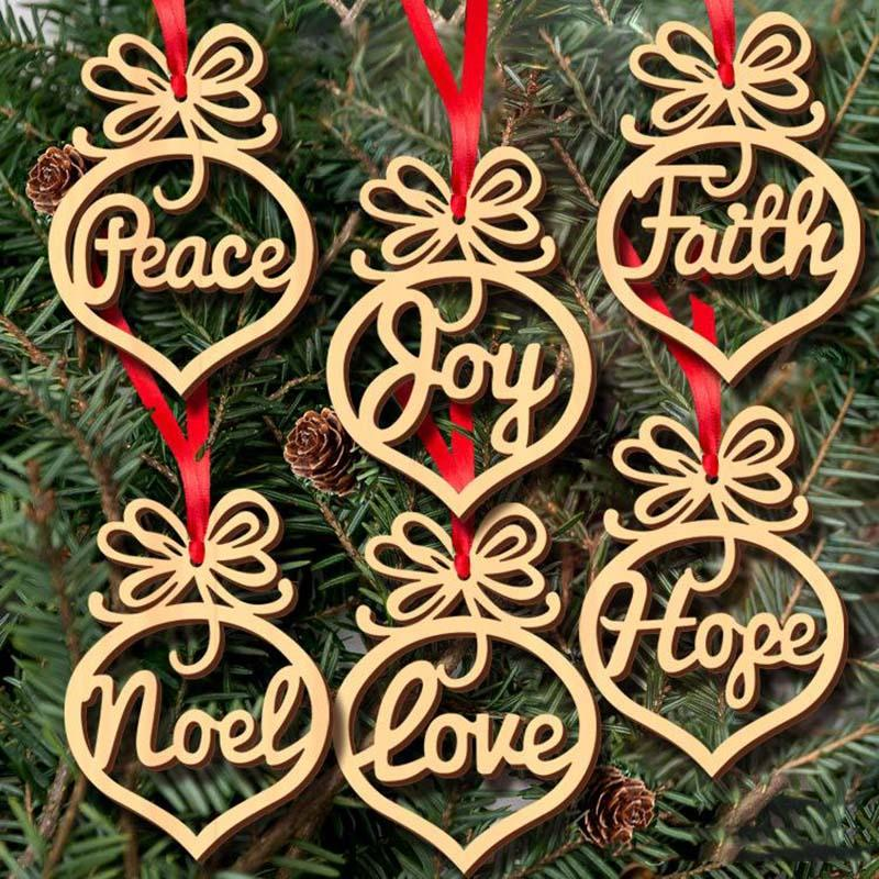 letter Ornaments Christmas Tree Decorations Home Festival Ornaments Hanging Gift wood Heart Bubble pattern Ornament GWE1782
