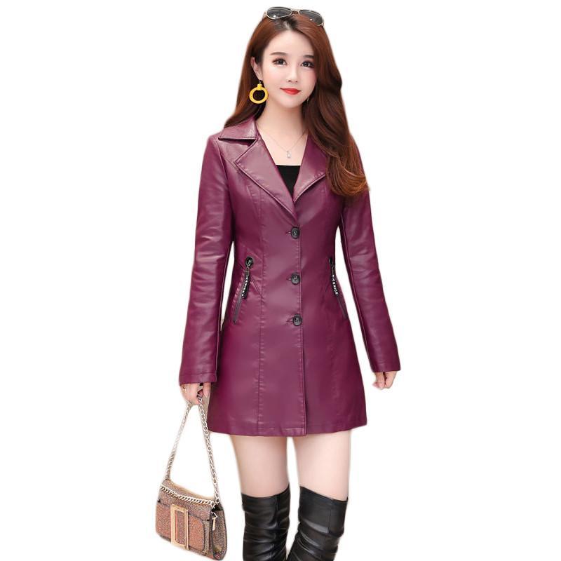 Siyah Deri ceket kadınlar kırmızı L-4XL beden 2020 sonbahar kış yeni Kore moda ince uzun PU moto ceket Feminina CX1231 gül