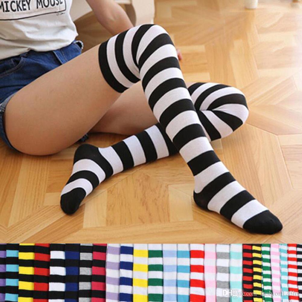 Mujeres Niñas sobre la rodilla largas impreso raya muslo altos calcetines de algodón a rayas 22 colores dulces calcetines lindos del tamaño extra grande Overknee