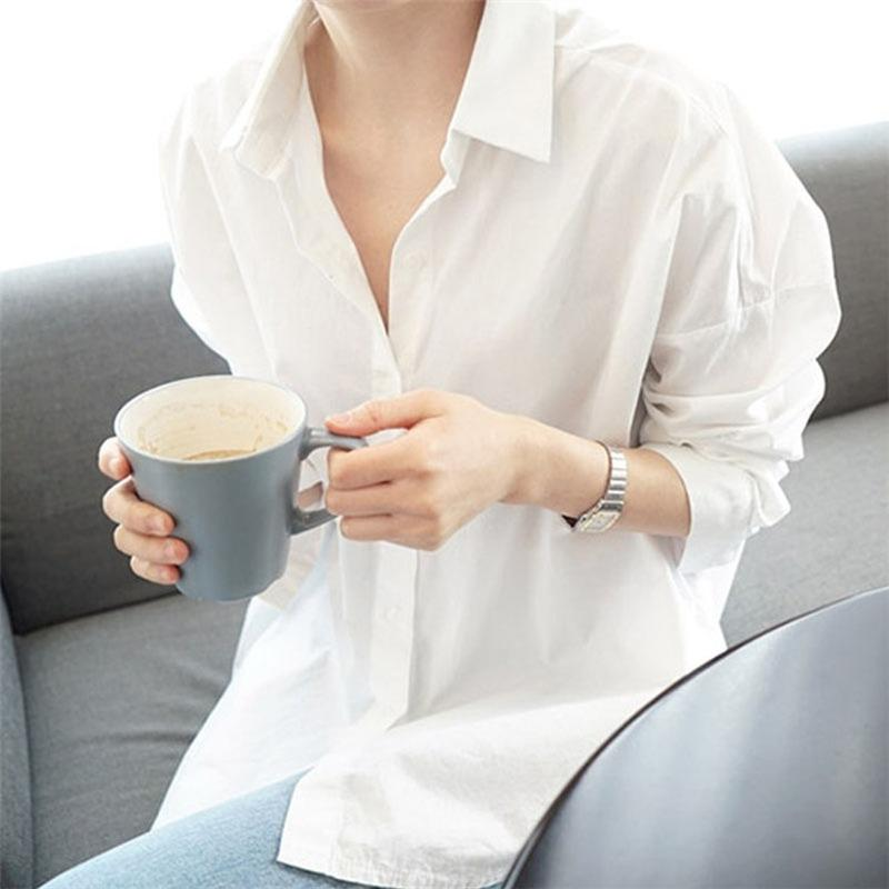 Women Plus Size Shirts and Blouses 2020 New Feminine Long Sleeve Casual White Turn-down Collar Tops Style Women Loose Blouses