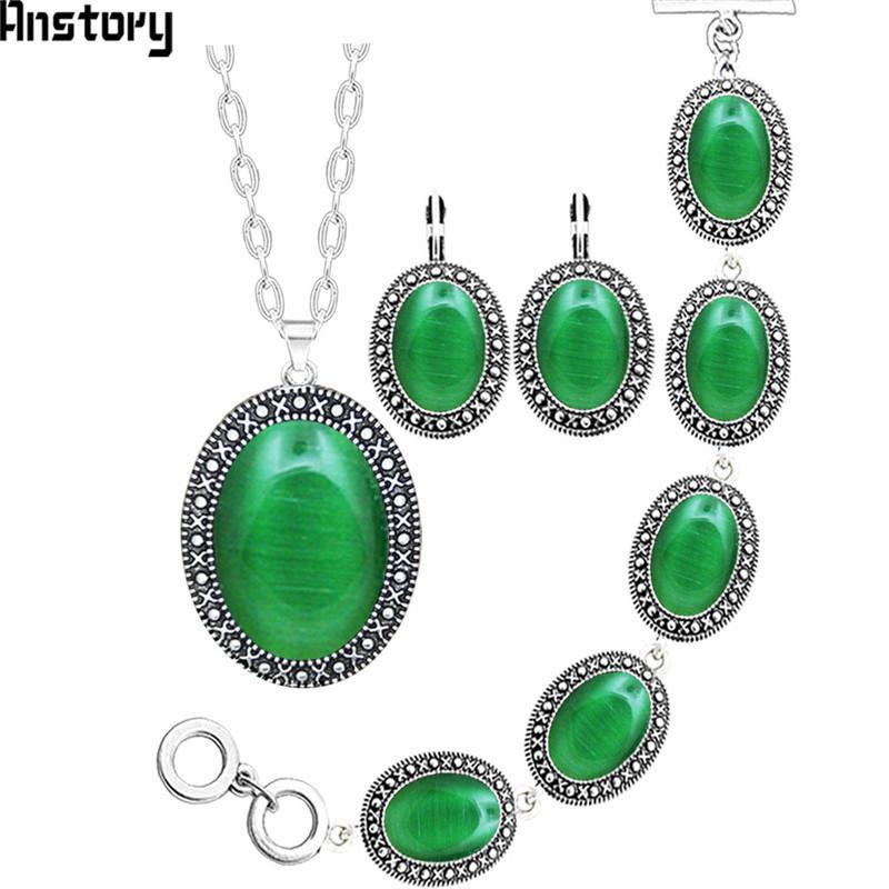 Серьги Ожерелье 5 Цветов Овальный Опал Браслет Ювелирные Изделия Уборка Античная Посеребренная Мода 412