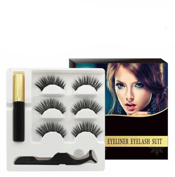 3D 5 cílios postiços magnéticos com ímã Eyeliner Mink cílios Falso 3 pares impermeável líquido Pinças Set duradouro pestana Maquiagem
