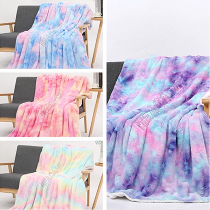 Sherpa Fleece-Decken Abbindebatik Dual-Layer Winter-Decke Kinder Erwachsene Quilt weichen Doppel Eindickung Plüsch Couch Bedspreads Bettwäsche DHE1620