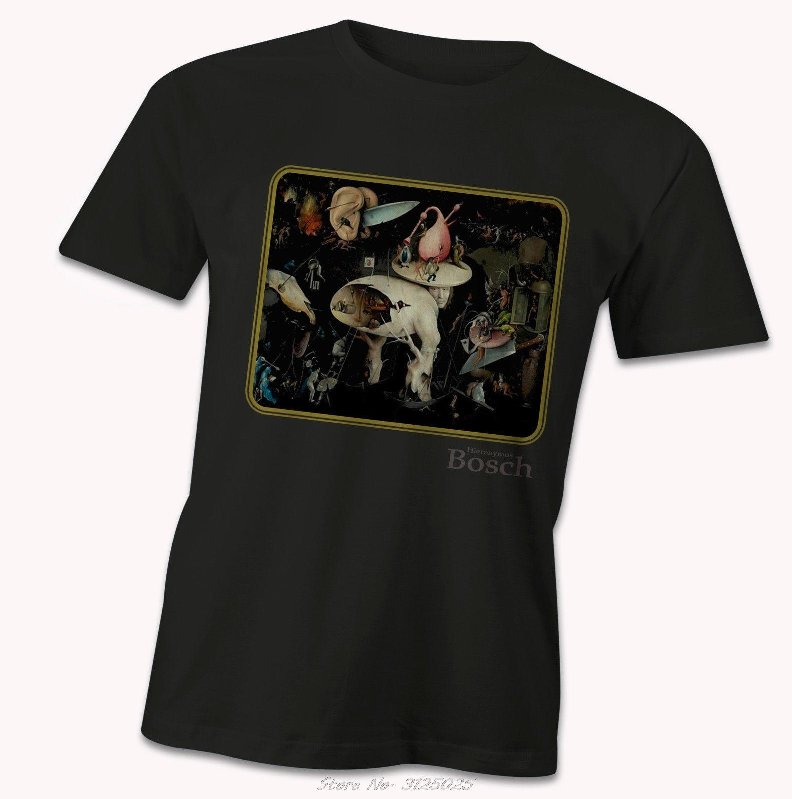 Hieronymus Bosch T-shirt Jardin de l'enfer Détail Delights Earthly néerlandais Artiste Cartoon T-shirt unisexe Homme Nouveau mode T-shirt