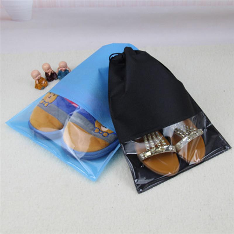 1pc Non-woven Fabric Shoe Cover Storage Finishing Bag Transparent Dustproof Travel Drawstring Shoes Pouch Case