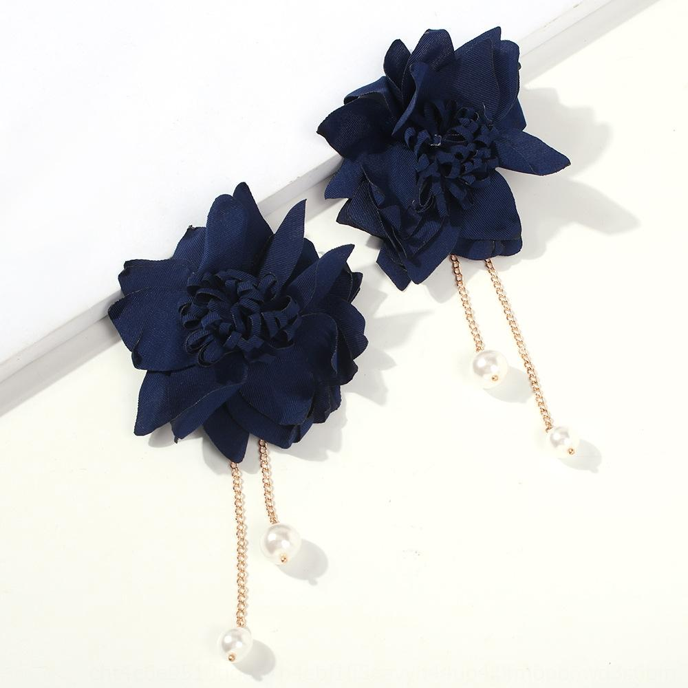 RnXFn E6703 nuovo tessuto di fiori dolce personalizzato orecchini di perla pendente moda imitazione fiore orecchini a pendente di perle