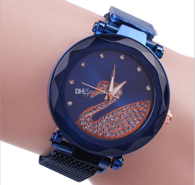 Kuğu Sıcak Stil Web Ünlü Lady Kuvars Saatler Douyin Popüler Tembel Watchsa Mıknatıs İzle Kayışı Mıknatıs İzle Öğrenciler İzle