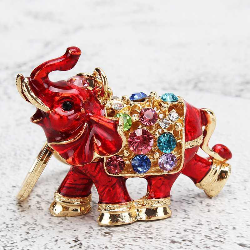Venta caliente Colorido Rhinestone Elefante Llavero Coche Titular de la llave Drop Mujer Bolsa Ornamentos Colgante Pequeño Regalo